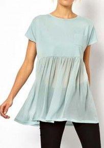 Green Pockets Patchwork Pleated Short Sleeve Chiffon T-Shirt