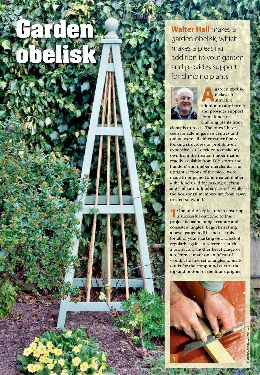 12 Garden Obelisk Plans - Outdoor Plans  Garden bench plans