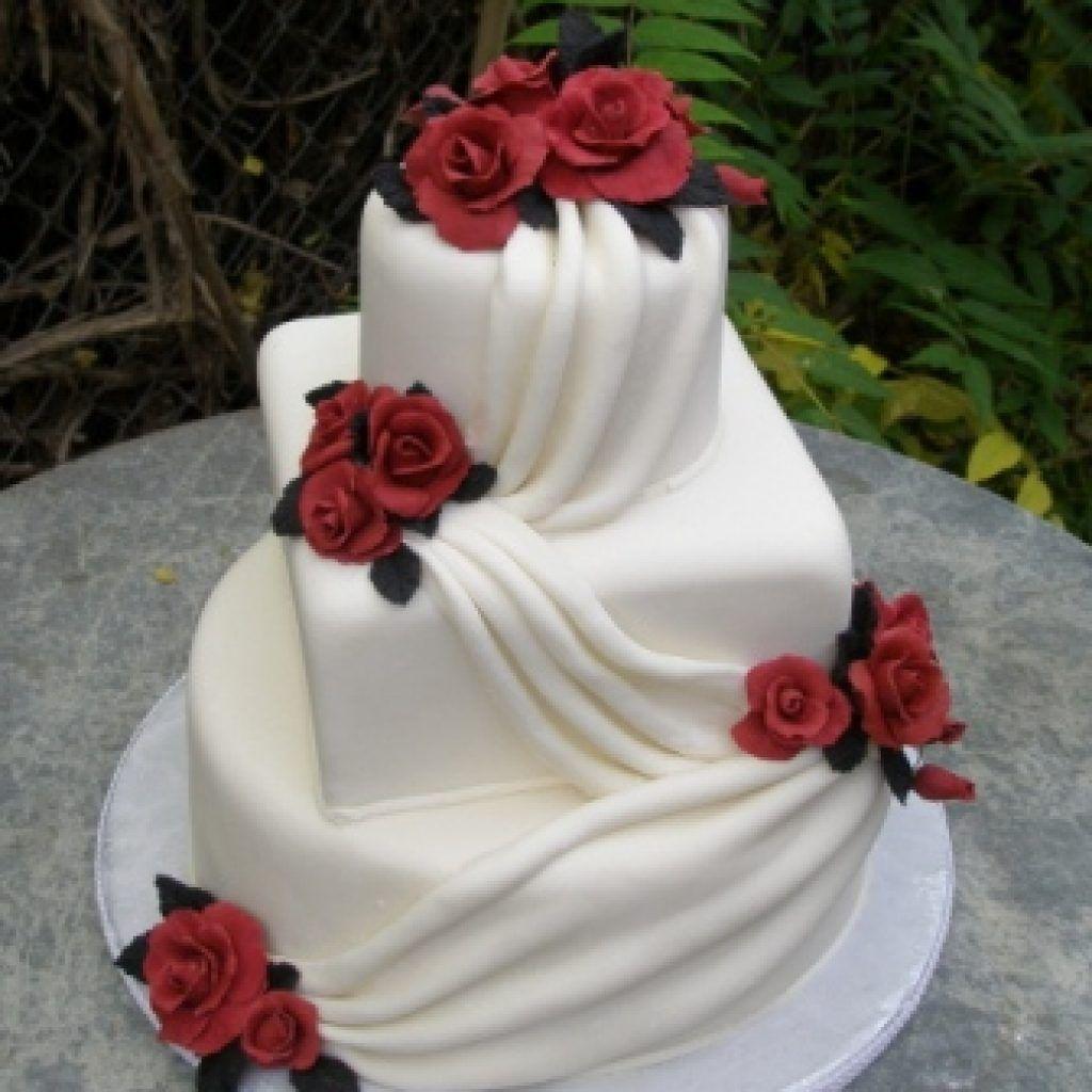 Deep red rose wedding cake red rose cake decorations red rose