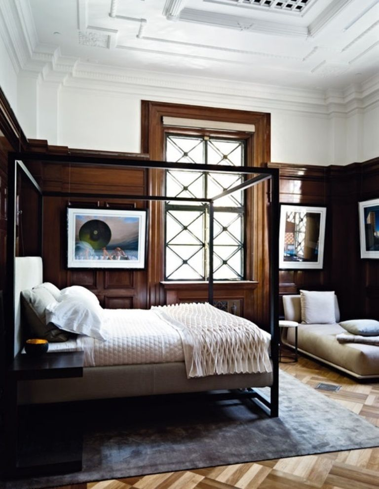 35 Masculine Bedroom Furniture Ideas That Inspire: Dark Wood Paneled Bedroom