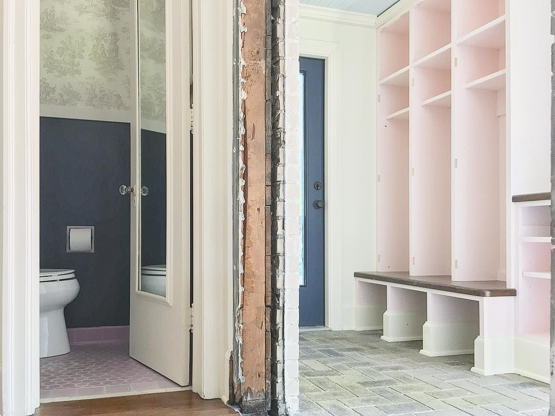 First look of the mudroom pink navy haint blue this space was