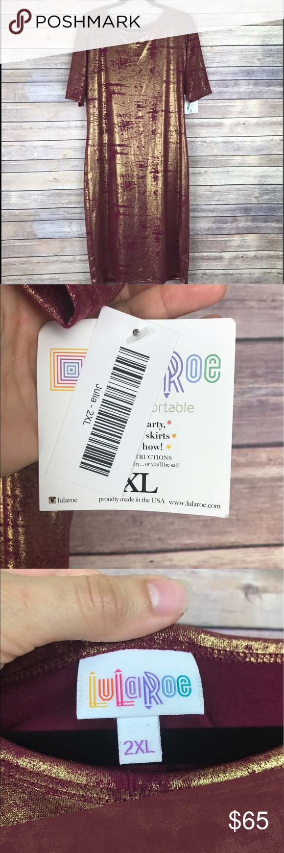 """Lularoe Julia Dress Metallic Elegance Unicorn Lularoe 'Julia' dress from the limited edition elegance collection Purplish red color with metallic gold print Size 2XL. Armpit to armpit 21"""" Length 43"""" New with tags! All measurements are approximate. Smoke free home. LuLaRoe Dresses"""