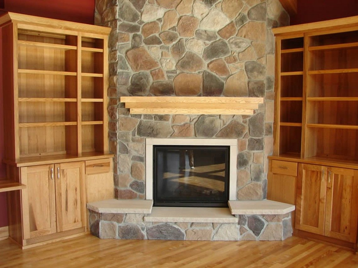 Oak veneer mantel shelf