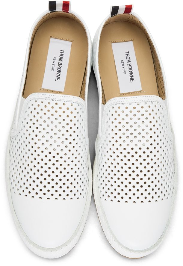 White Perforated Leather Espadrilles Thom Browne