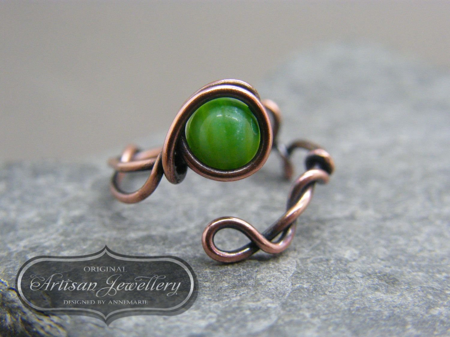Adjustable ring ~ Green stone ~ Wire wrapped ~ Copper ring ...