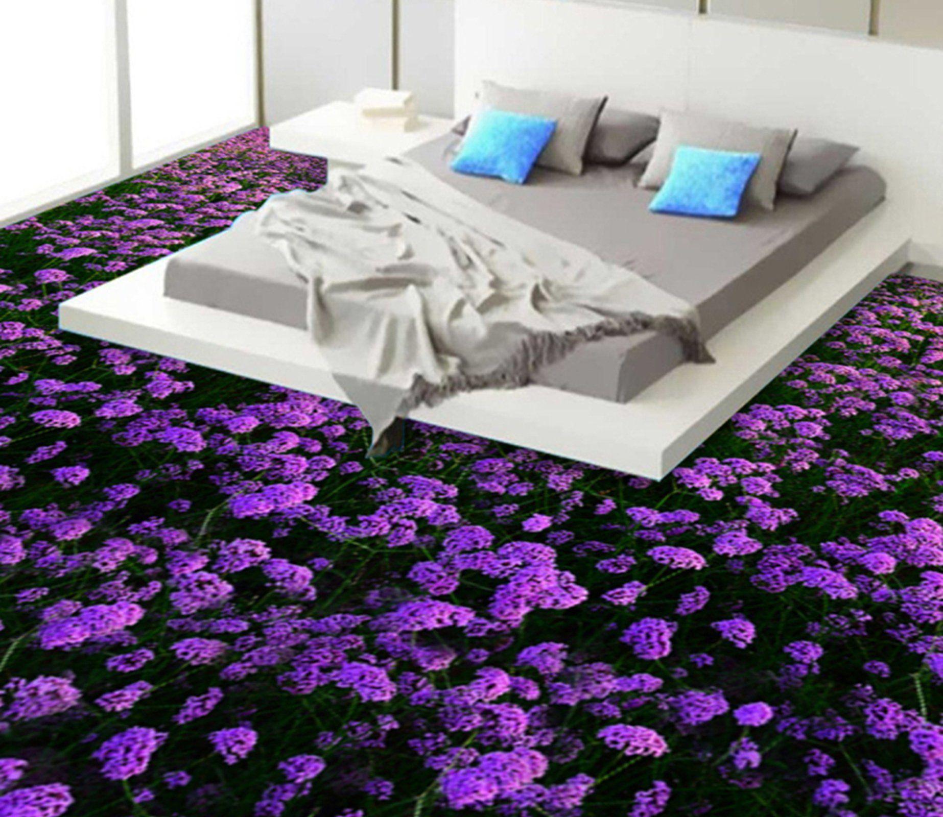 3D Purple Lavender WG312 Floor Mural Floor murals, Mural