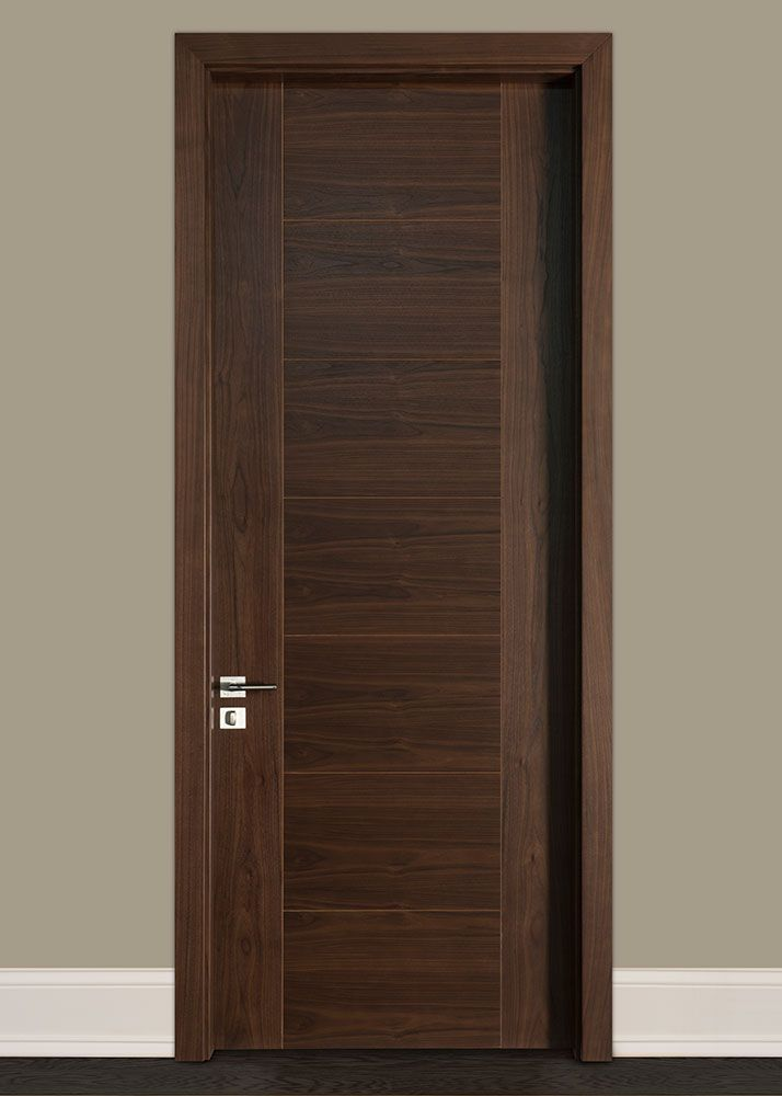 Custom Interior Door Single Wood Veneer Solid Core Wood With Dark Walnut Finish Modern Mod Wood Doors Interior Custom Interior Doors Wood Interior Design