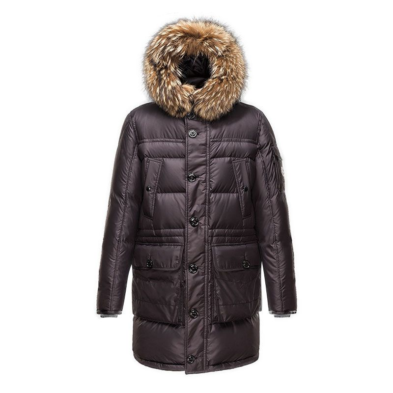 Men Moncler Coffee Affton Fur Hood Long Padded Parka   Discounts ... d30a46004cc