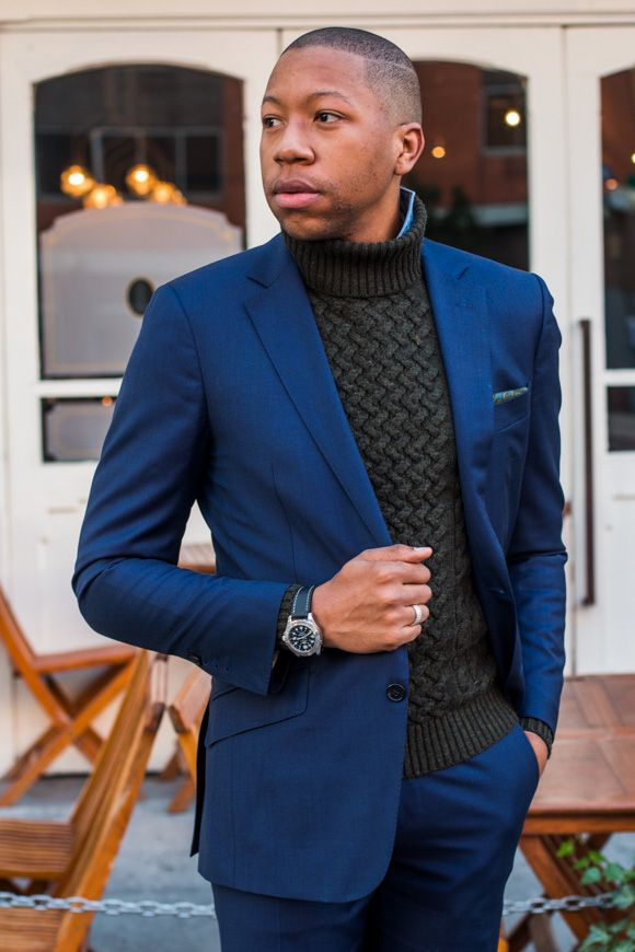 Blue Notch Turtleneck Blue Suit Men Mens Suits Slim