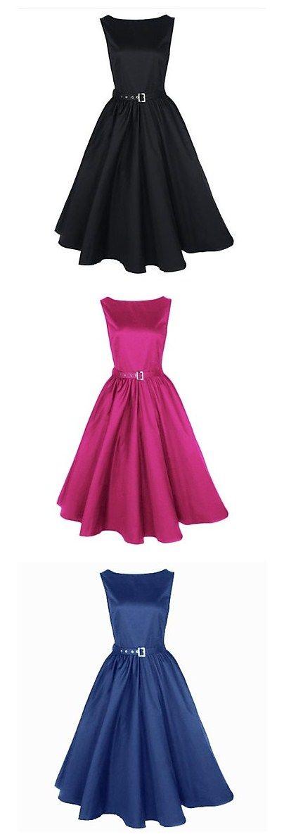 Women\'s Work Vintage Cotton Loose Sheath Skater Dress - Solid ...
