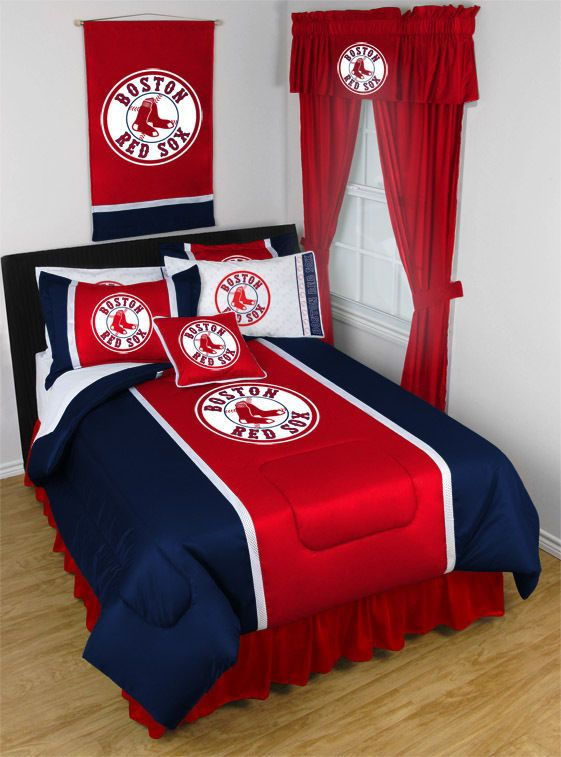 Boston Red Sox MLB Sidelines Room Comforter And Sheet Set Size Queen SportsCoverage