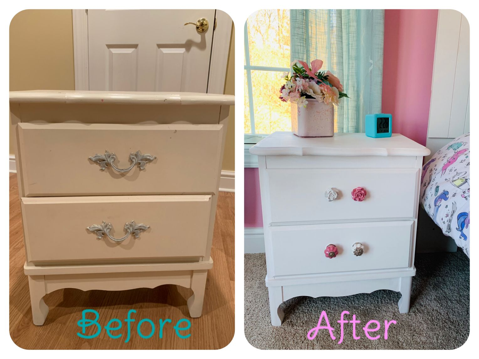 I got this nightstand for $10 and chalk painted it white ...