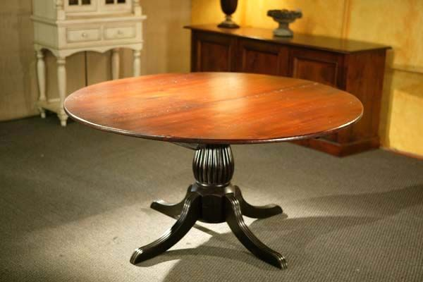 60 Inch Round Farm Table With Black Fluted Pedestal