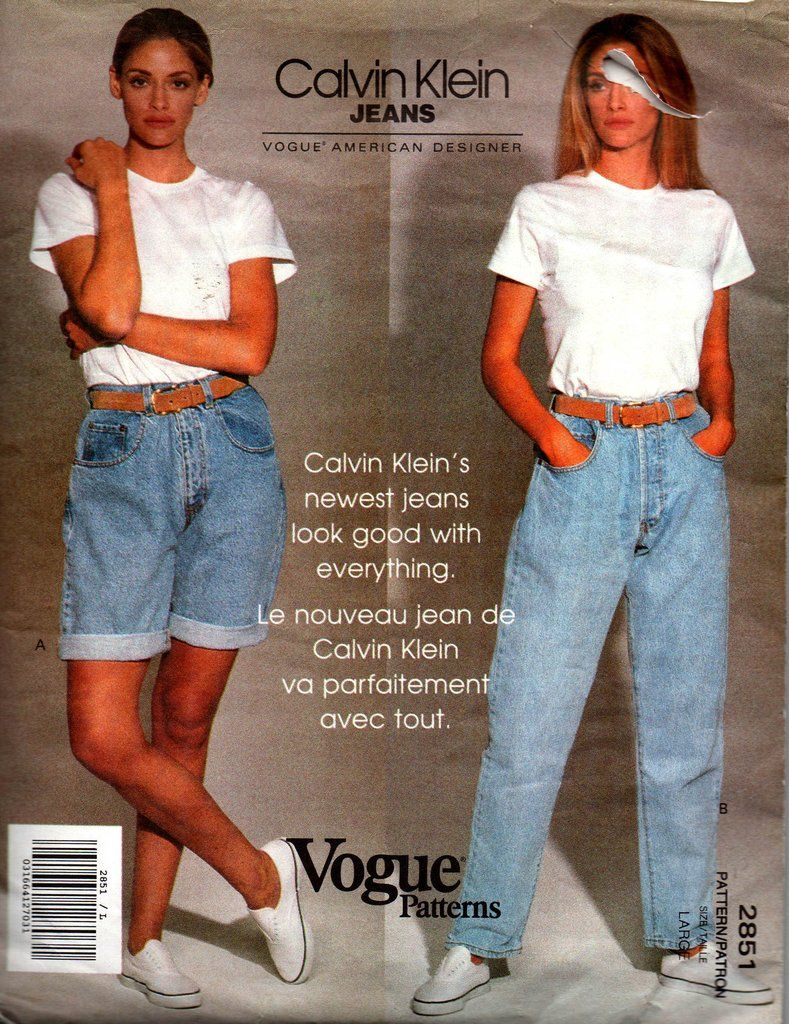 90s Calvin Klein High Waist Jeans   Shorts Pattern Vogue 2851 Vintage  Sewing Pattern Size 12 - 14 fe495efd1bb