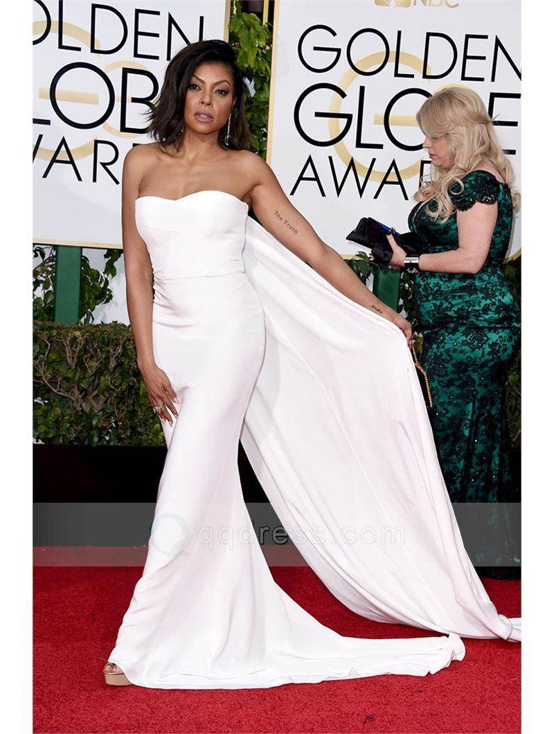 Sheath Red Carpet Celebrity Dress Strapless White Jersey Prom Dress ...