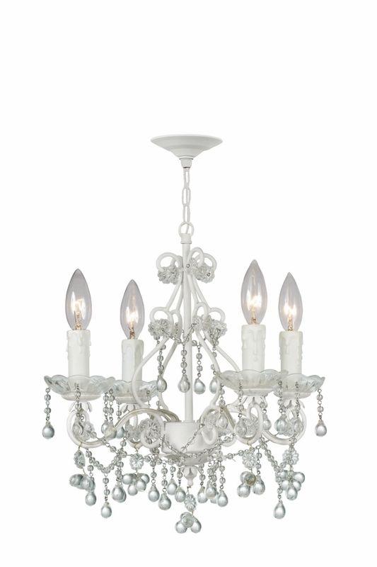 Paris flea market mini chandelier in white with clear crystals paris flea market mini chandelier in white with clear crystals aloadofball Choice Image