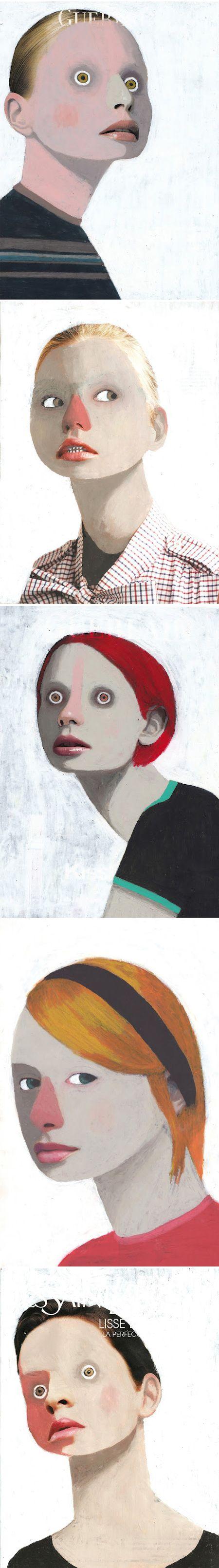 Barcelona based artist Guim Tió Zarraluki. oil pastel over top magazine photos.