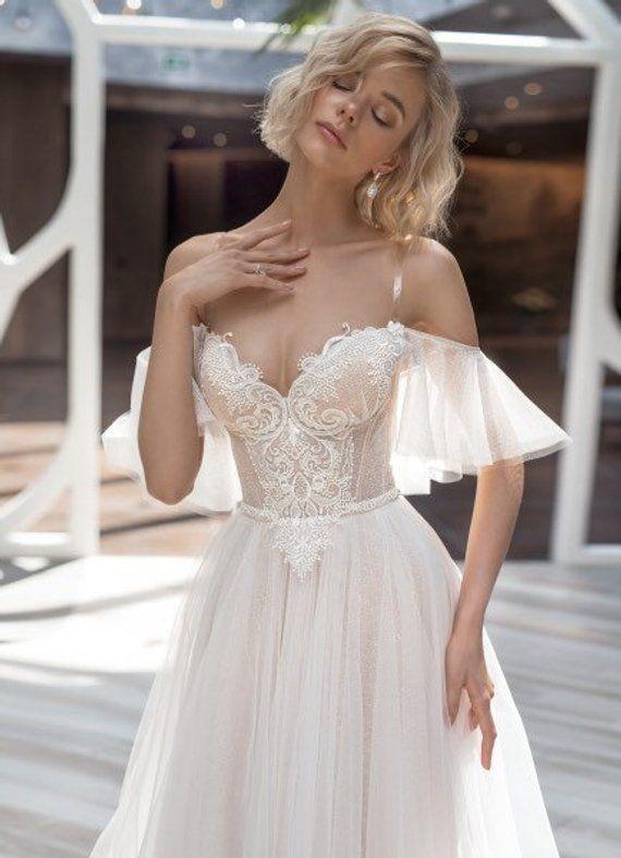 Light blush ivory wedding dress white illuminations lace train bohemian tulle go…