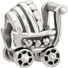 Baby Buggy (2010-3083) Celebrate the little one in your life with the Baby Buggy! An update of the baby carriage bead, this charming bead in sterling silver features moveable wheels. $35