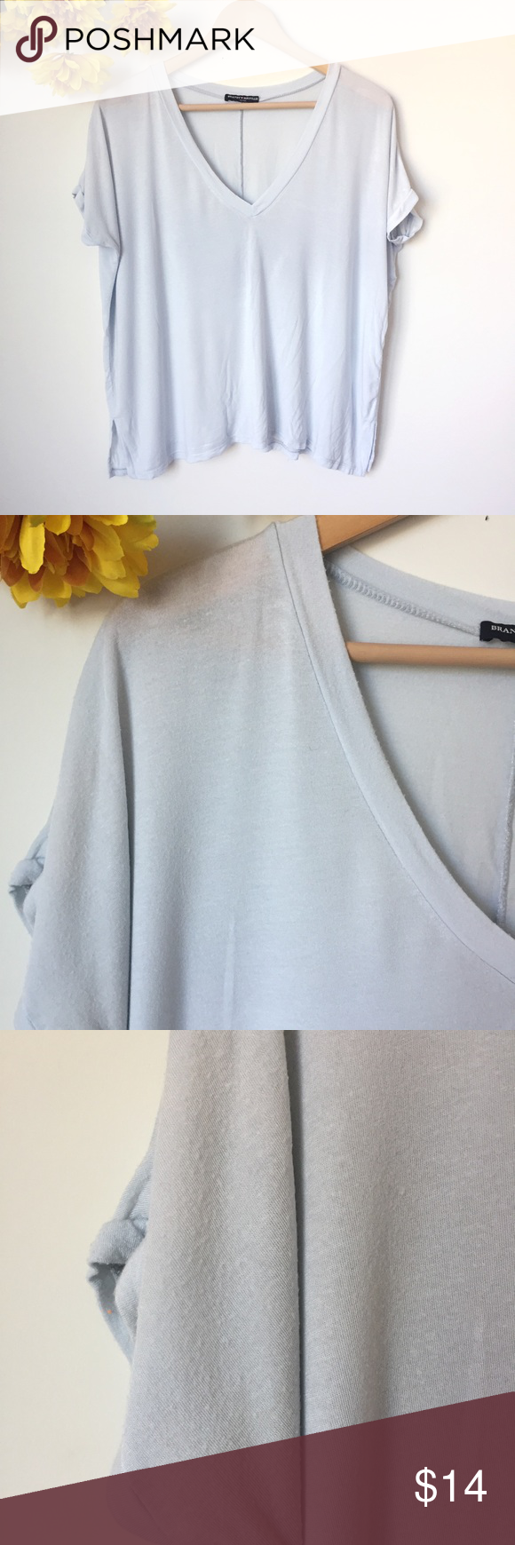 "Brandy Melville Top Flowy, comfy top. Minimal piling. One Size. Length 25"", Bust 26"". Light blue Brandy Melville Tops"