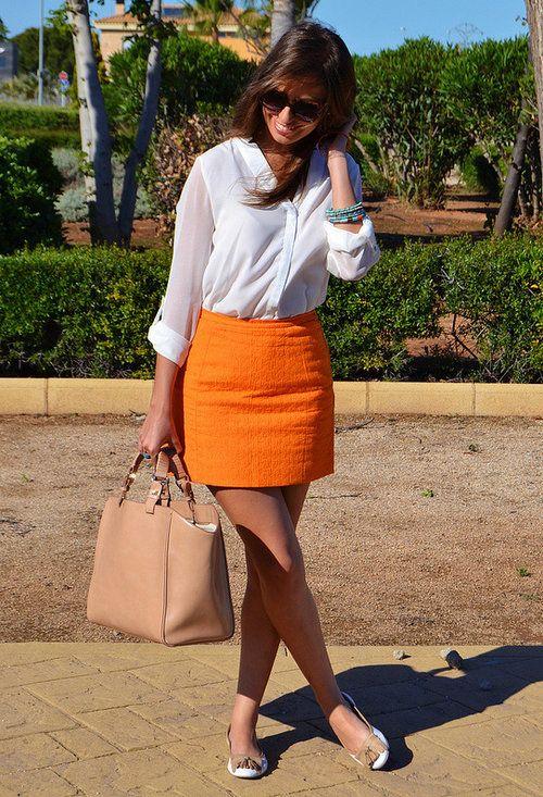 how to wear an orange skirt