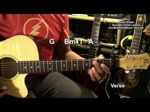 Justin Bieber Sorry Acoustic Guitar Chords Strumming Lesson