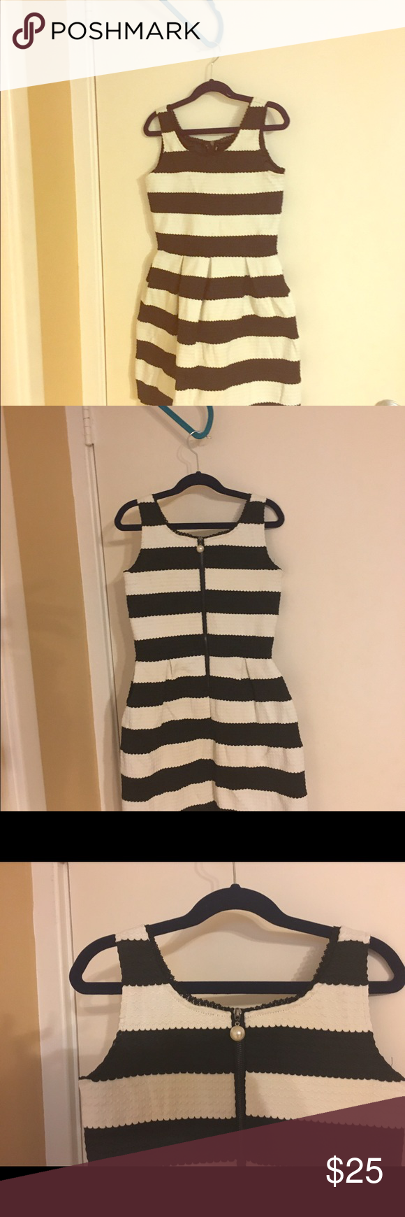 Elisa B black & white party dress Sz 10y Your tween will look precious in this black & white party dress with pearl zipper detail from Elisa B Elisa B Dresses Formal