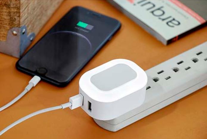 Descripción Adaptador Sork Adaptador De Corriente Con Doble Entrada Usb Para Smartphone Y Tablet Función Luz De Noche Accesorios Para Celular Smartphone Usb