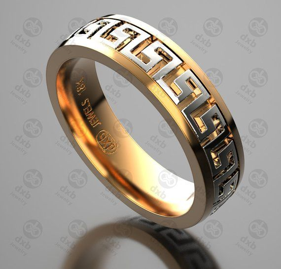 Versace Wedding Band Mens Ring Greek Key Ring Gold Wedding Rings