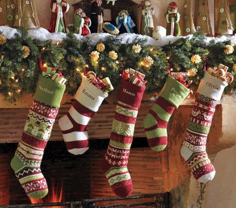 Pottery Barn Fairisle Stockings---though if I learned how to knit ...