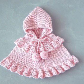 Pink Baby Girl Poncho / Toddler Ruffled Sweater / Alpaca