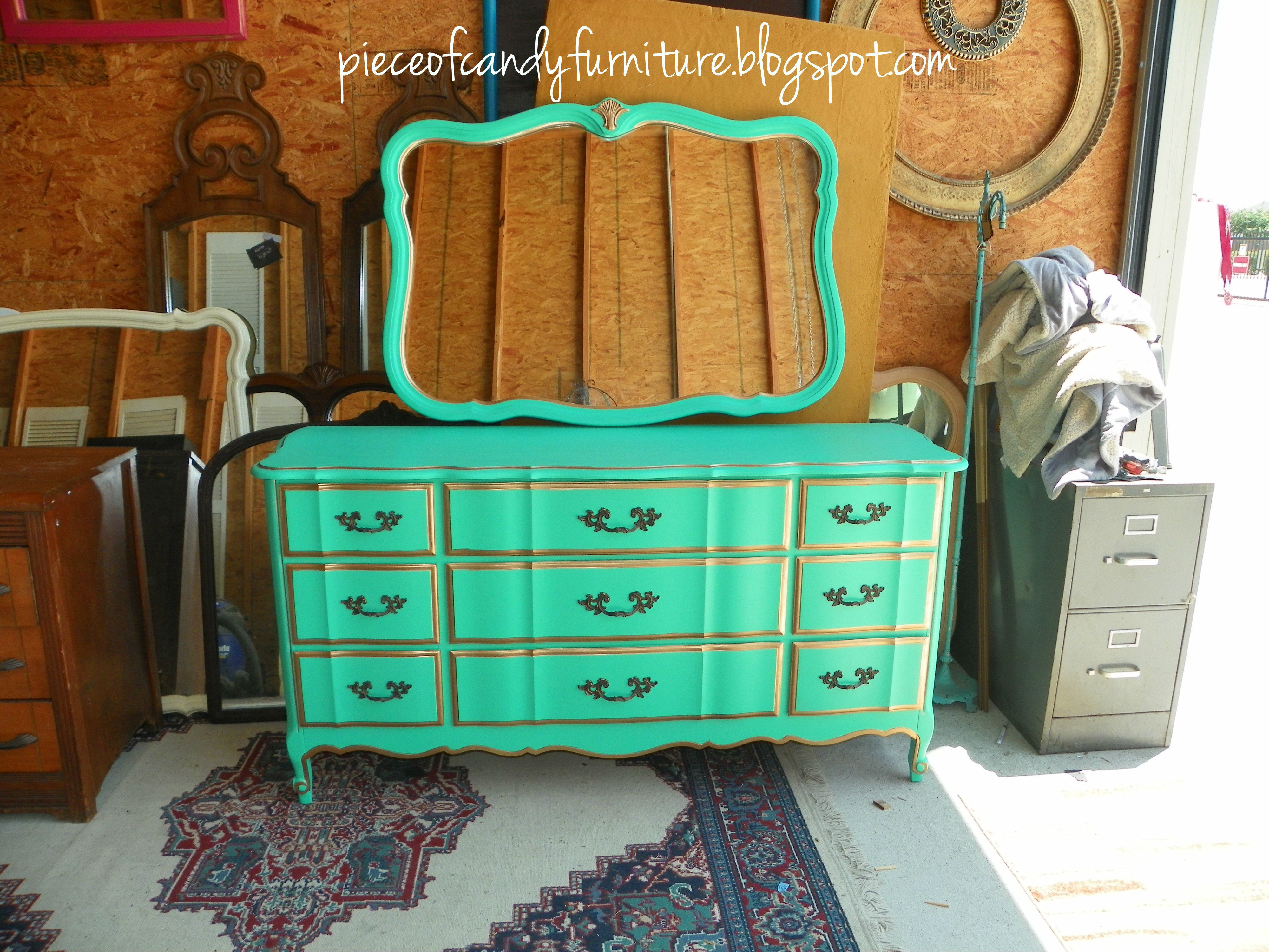 French Provincial Kent Coffey Dresser With Mirror Painted In A Teal Green With Gold Detail Pieceofcandy Teal Paint Dresser With Mirror Kent Coffey Dresser