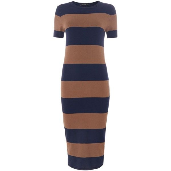Max Mara Addi striped midi knitted dress ($220) ❤ liked on Polyvore featuring dresses, women, striped dress, midi shift dress, blue shift dress, shift dress and rayon dress