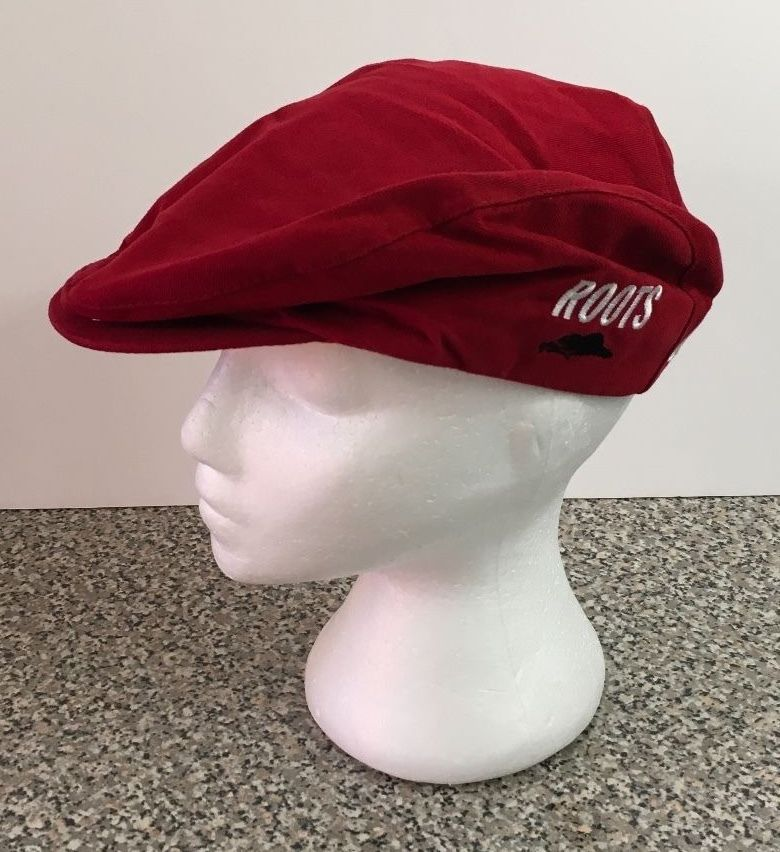 Roots Canada Poorboy Red Newsboy Cabbie Cap Hat NEW NWT Size Large L  #Roots #Poorboy