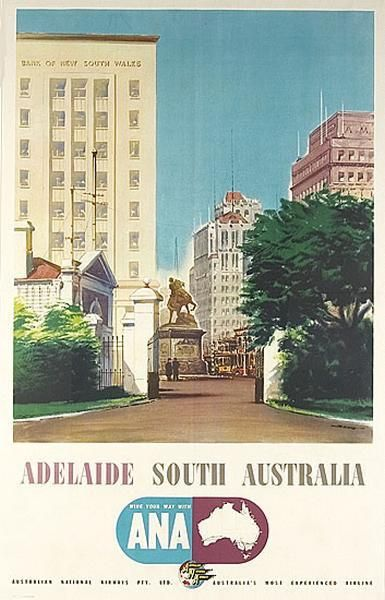 1955 travel poster 'Adelaide, South Australia, wing Your Way with Ana', artwork by Ronald Skate (b.1913)