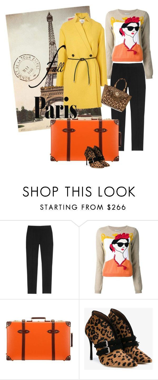 """""""I'm In"""" by jannieboots ❤ liked on Polyvore featuring Cavallini, Moschino Cheap & Chic, Alice + Olivia, Globe-Trotter, Tabitha Simmons, Hill & Friends and fallgetaway"""