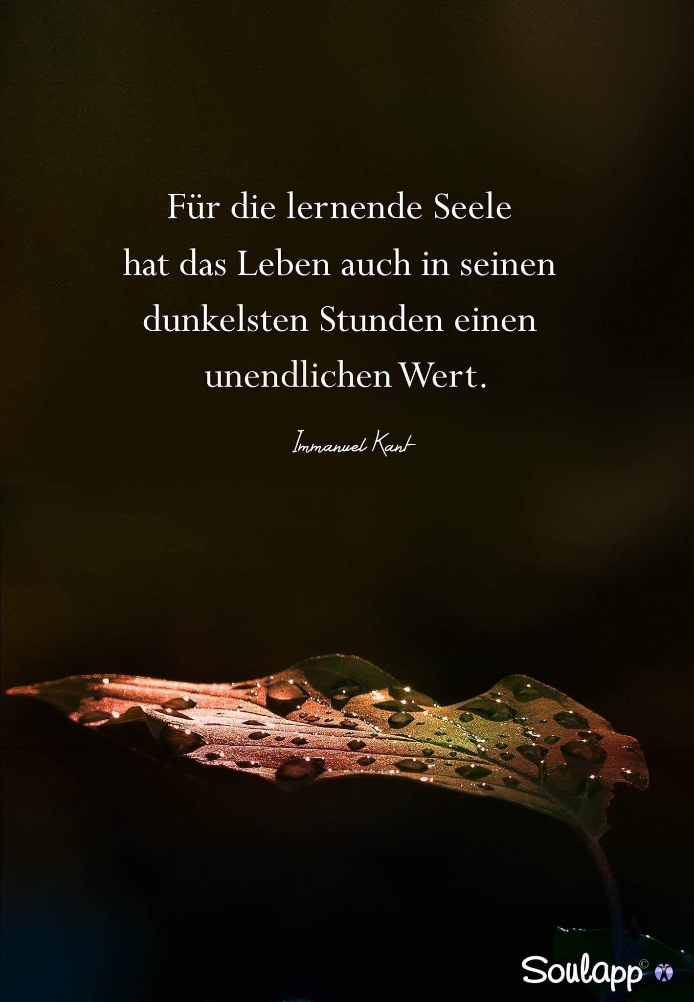 Für die lernende Seele hat das Leben auch in seinen dunkelsten Stunden einen unendlichen Wert. - Immanuel Kant Sprüche / Zitate / Quotes / Wachstum / Erkenntnis
