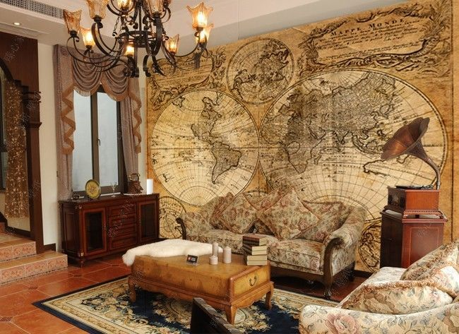 Travel Themed Bedroom For Seasoned Explorers: Source URL: Http://picclick.com/Old-world-map-wallpaper