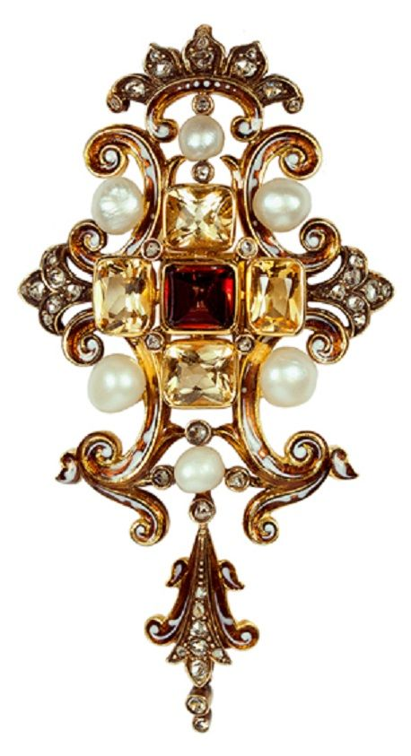 A Victorian Gothic Revival gold, garnet, citrine, diamond and pearl pendant / brooch, circa 1860. #Victorian #GothicRevival #pendant #brooch