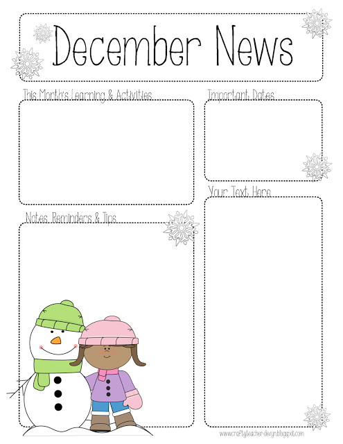 December Newsletter for ALL Grades! Preschool, Pre-K, Kinder, etc ...