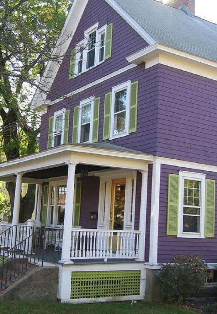 Grape White With Sage Green Shutters Exterior Color