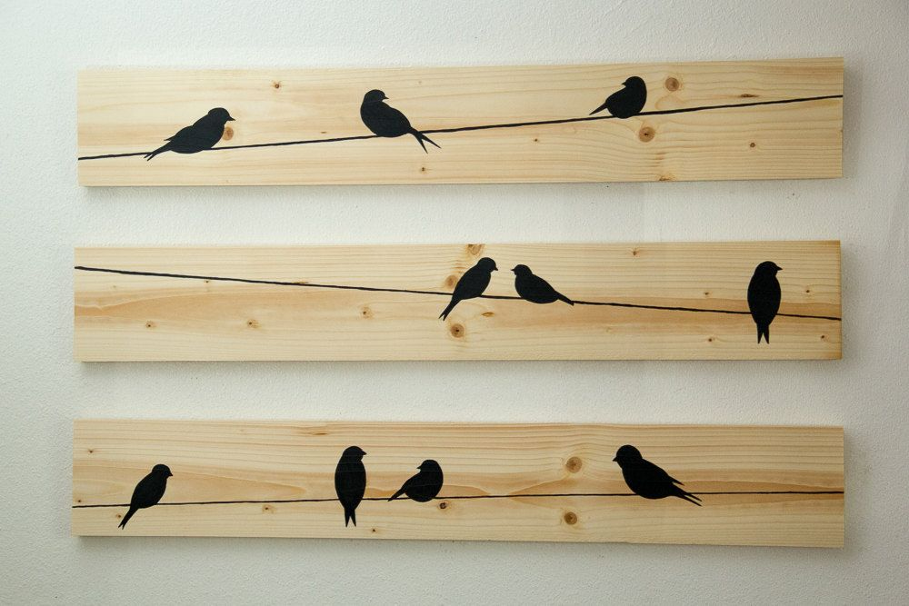 Wooden Wall Decor - Birds on a Wire, 3 Piece Set by HomeFrosting on ...