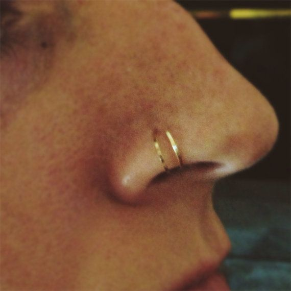 Hammered Double Hoop Nose Ring In Gold Rose Gold Or Sterling