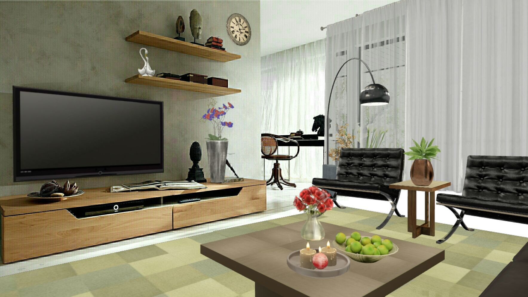 Simple TV Wallliving room design from Autodesk Homestyler designer