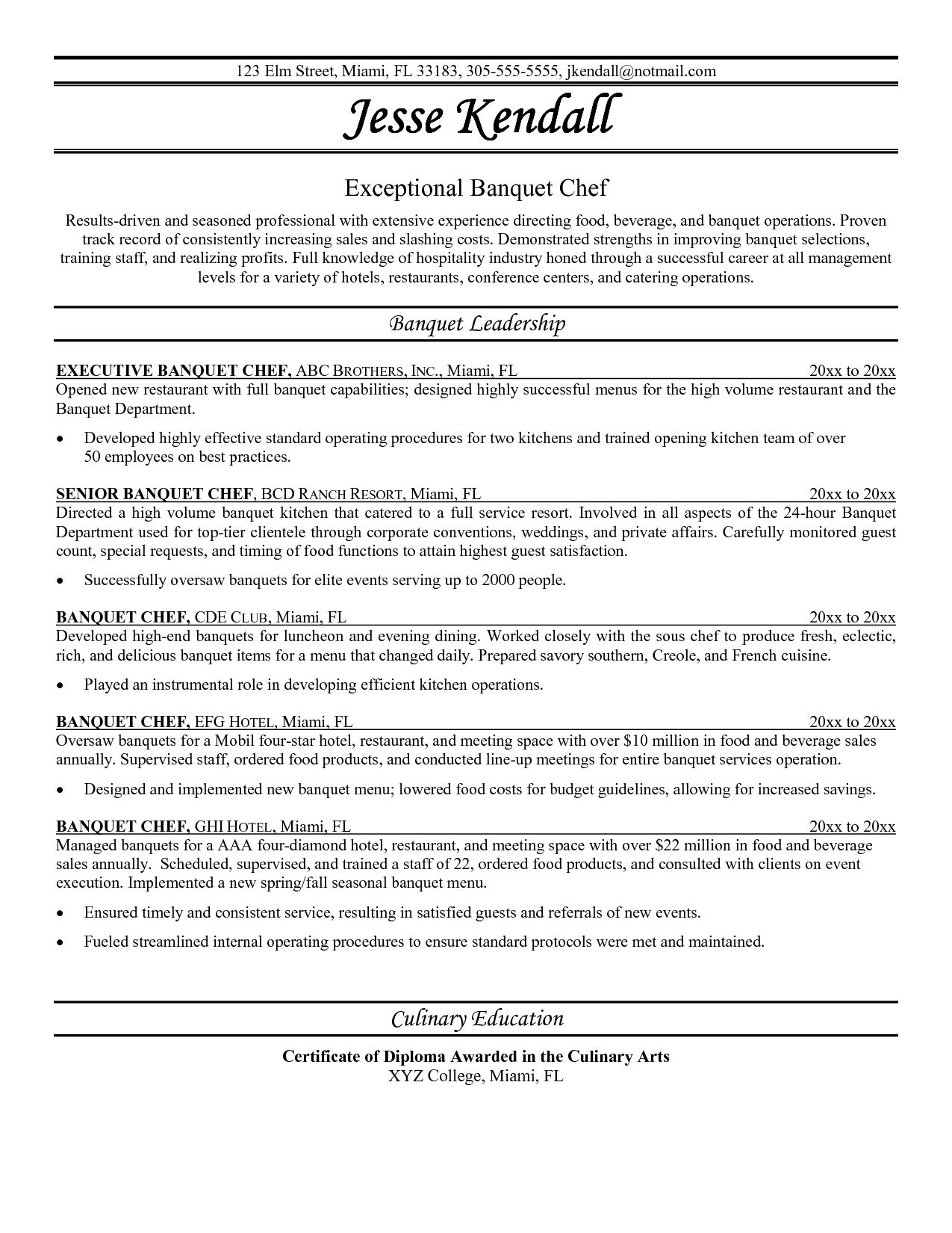 Pastry Chef Resume Sample Examples Sous Jobs Free Template Example
