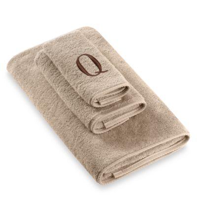 Avanti Premier Brown Block Monogram Letter Q Fingertip Towel In