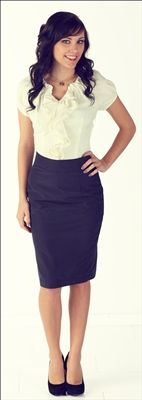 Cute modest top with ruffles + knee length pencil skirt