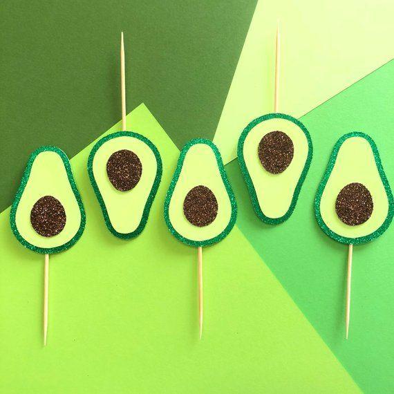 Photo of Avocado Cupcake Toppers | Fiesta Decorations | Food Dessert Topper | Taco Night Party Decor | Avocados Pick | Birthday Smash Cake Top