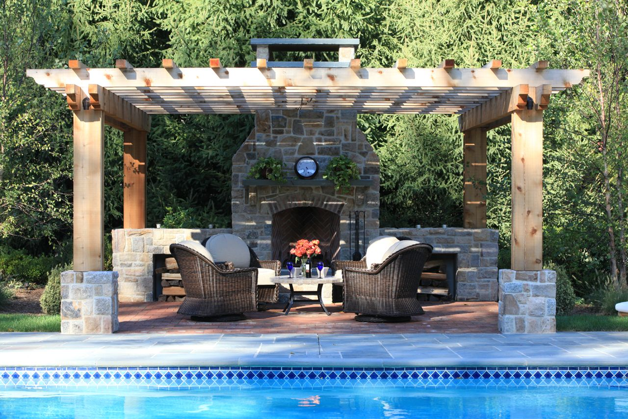 Pool pergola patio and a fireplace outdoor fireplaces for Outdoor gazebo plans with fireplace