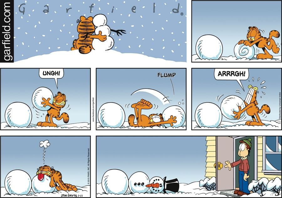 Garfield makes a snowman.  Maybe Odie should have helped.